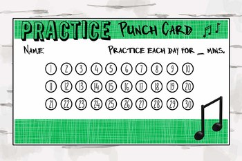 Practice Punch Card, Music Reward Chart, Music Teacher Material, pdf