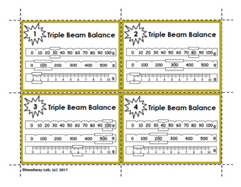 Reading a Triple Beam Balance to Determine Mass Task Cards