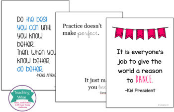 Practice Room Inspiration Poster or Bulletin Board Set