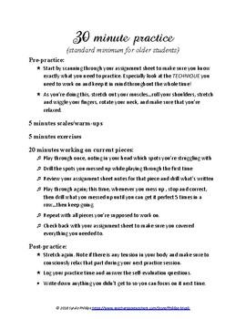 Practice Schedule Charts (for instrumentalists)