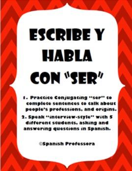 "Practice ""Ser"" Writing & Speaking in Spanish"