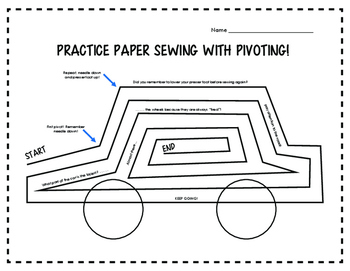 Practice Sewing Sheets - Pivoting