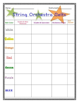 Orchestra Belts Practice Record Weekly Performance Challenge - Editable!