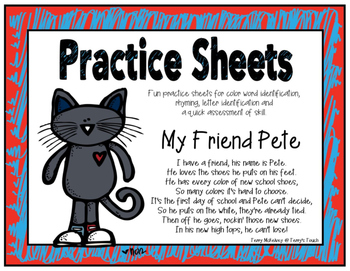 Practice Sheets for Colors, Rhyming and Letter Identification