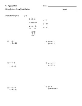 Practice Solving Systems through Substitution