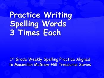 Practice Spelling Words 3 Times Each 1st Grade