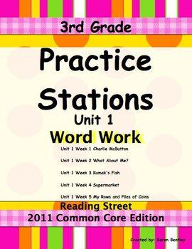Practice Stations: Unit 1, Word Work, 3rd Grade, Reading Street 2011 C.C. Ed.