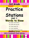 Practice Stations: Unit 1, Words to Know, 3rd Grade, Readi