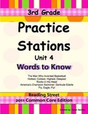 Practice Stations: Unit 4, Words to Know, 3rd Gd., Reading