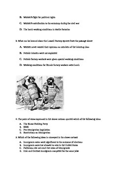 Practice Stimulus Test questions for APUSH or  US STAAR Period 4/5