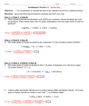 Practice Stoichiometry Mass To Mass Worksheet 1 1 Answer Key