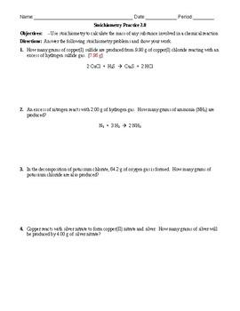 Practice - Stoichiometry: Mass to Mass Worksheet 2.0