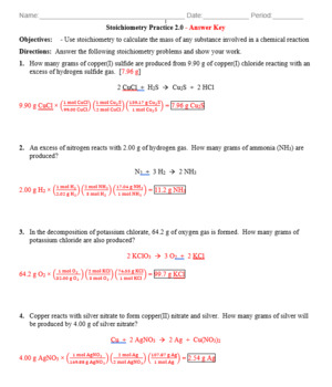 Practice - Stoichiometry: Mass to Mass Worksheet 2.0 - Answer Key