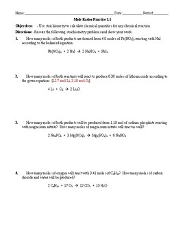 Practice - Stoichiometry: Mole to Mole Worksheet 1.1