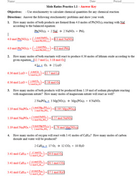 Practice - Stoichiometry: Mole to Mole Worksheet 1.1 - Answer Key