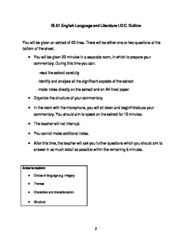Practice Task for the I.B. Individual Oral Commentary (I.O.C.)