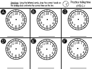 Practice Telling Time Center - GO MATH! Chapter 7