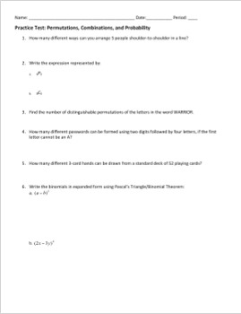 Practice Test - Permutations, Combinations, and Probability