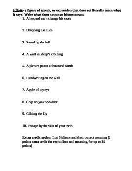 Idioms Practice Sheet