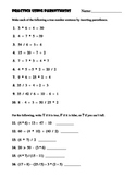 Practice Using Parentheses Worksheet