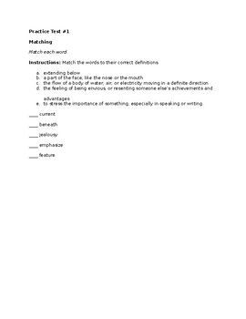 Practice Vocabulary Tests for ESL Students