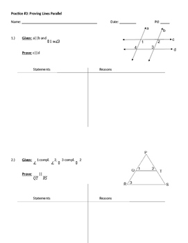 Practice WS: Proving Lines Parallel
