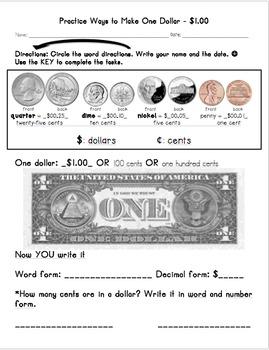 Practice Ways to Make One Dollar $1.00