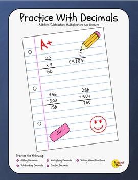 Practice With Decimals Workbook