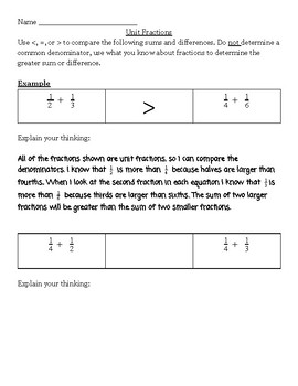 Practice With Unit Fractions