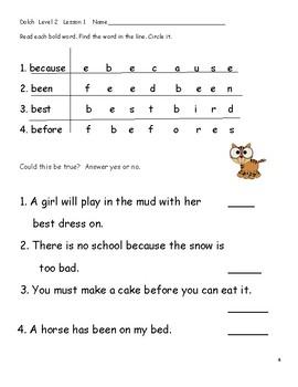 Dolch Level 2 Workbook