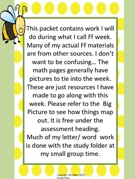Practice Work:  Letter Ff week, Numbers 1-30, color words all, number words
