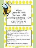 Practice Work:  Letter Ff week, Numbers 1-30, color words