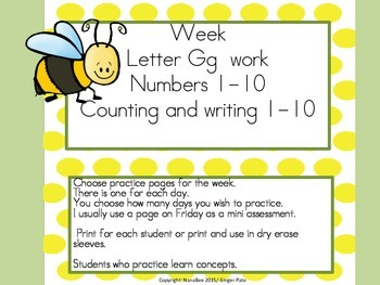 Practice Work:  Letter Gg, Numbers 1-10, color words RYBG