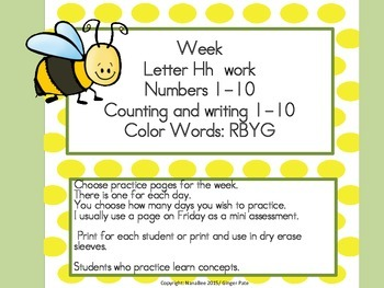 Practice Work:  Letter Hh, Numbers 1-10, color words RYBG