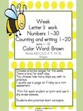 Practice Work:  Letter Ii, Numbers 1-30, color word brown