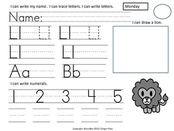 Practice Work:  Letter Ll, Numbers 1-5 counting, writing 1-10