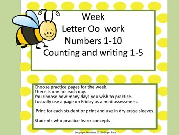 Practice Work:  Letter Oo, Numbers 1-5 counting, writing 1-10
