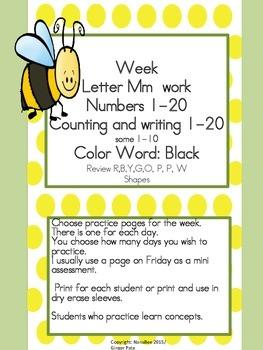 Practice Work:  Letter Mm, Numbers 1-20, color word black