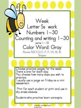Practice Work:  Letter Ss week work, Numbers 1-30, color word gray