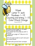 Practice Work:  Letter Tt, Numbers 1-10, color word orange