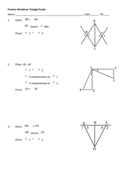 Practice Worksheet #1: Triangle Proofs by High School Mathematics ...
