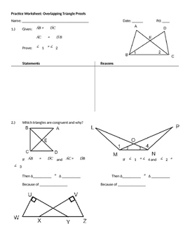 Practice Worksheet: Overlapping Triangle Proofs | TpT