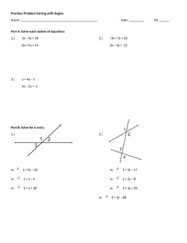 Practice Worksheet: Problem Solving With Angles