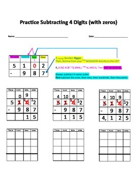 Practice Worksheet with Visual Aid for Subtracting Four digits