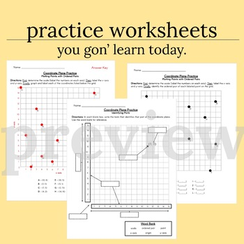 Practice Worksheets - Coordinate Planes and Ordered Pairs