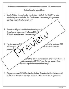 Practice Worksheets for percent of a quantity & finding whole given a percent