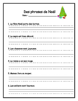 Practice Writing - Christmas sentences in French by Madame ...