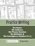 Practice Writing: My Name, My Address, My Phone Number, My Birthday & 9-1-1