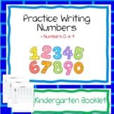 Practice Writing Numbers (0 --> 9) - Kindergarten Booklet