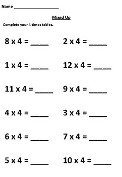 Practice Your 4 Times Tables